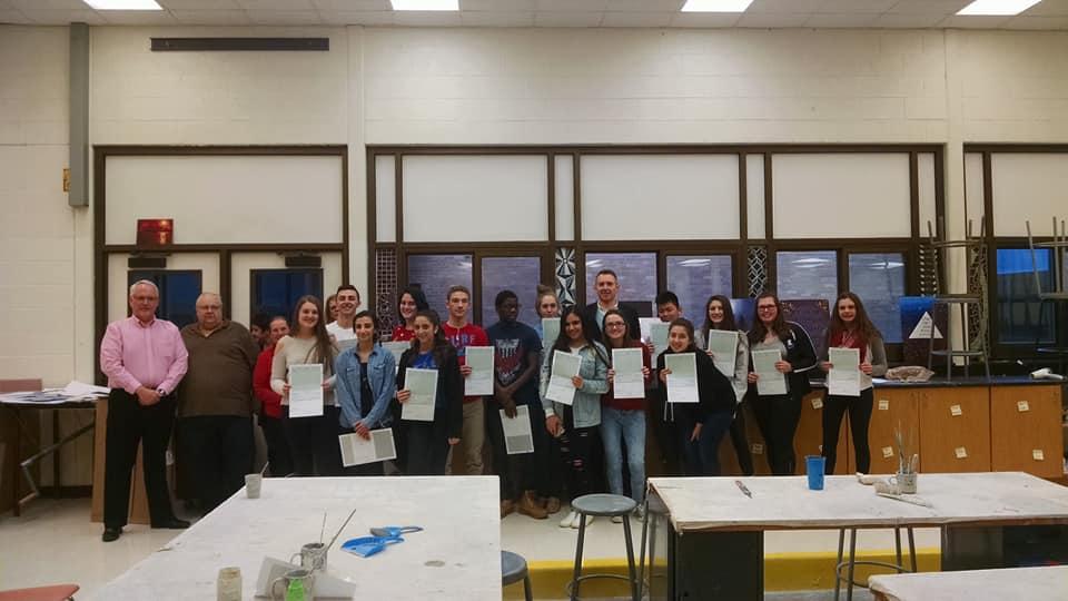 Presenting DDA Art Challenge Awards at Lamphere High School